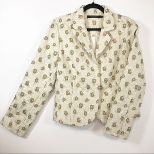 Nic+Zoe floral blazer NWT, metallic gold threads L